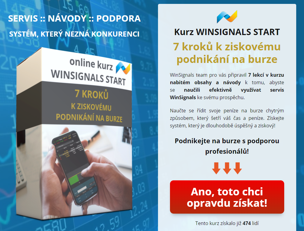 Pokud WinSignals dosud neodebíráte achcete si je vyzkoušet, můžete si objednat měsíční WinSignals nazkoušku, ke kterému získáte bonus zdarma vpodobě online kurzu WS START vhodnotě 199 €